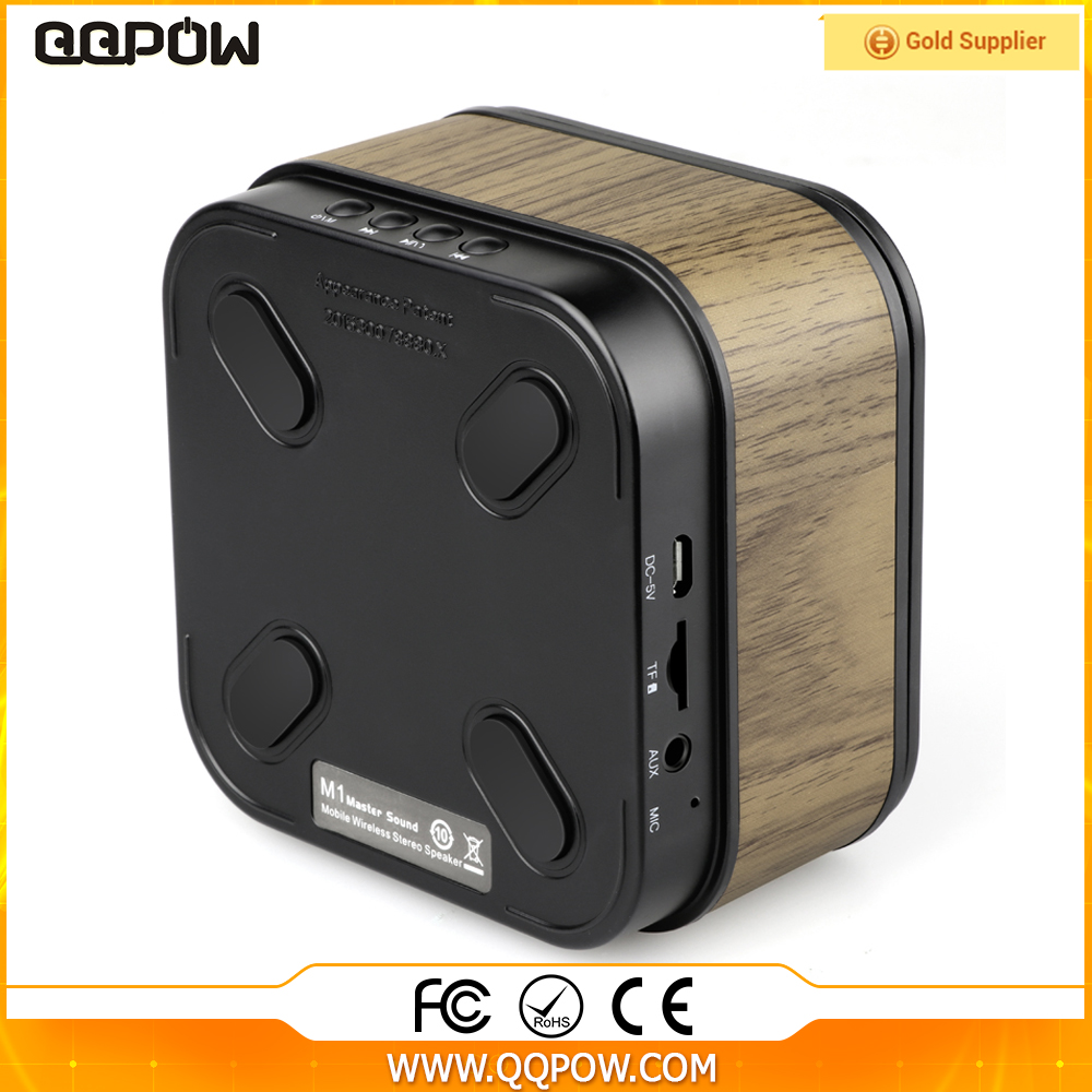 QQPOW BP033 portable small mini wooden micro bluetooth speaker