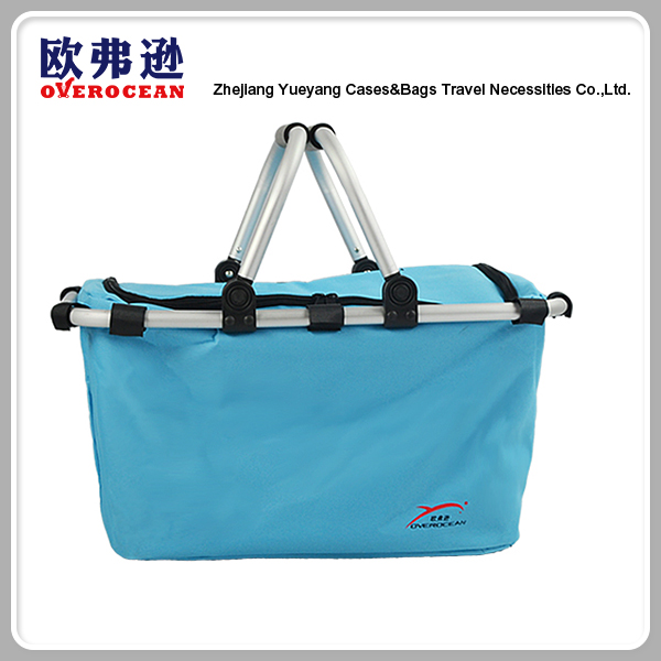 Portable Pure Color Polyester Picnic Cooler Bag With Handles
