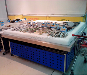 Dingfeng customized supermarket or grocery store shop stainless steel frozen fish seafood food display table ice case