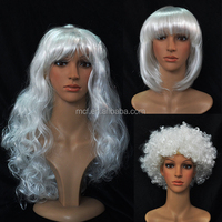Party festival cheap women synthetic white old lady hair wigs MCW-0110