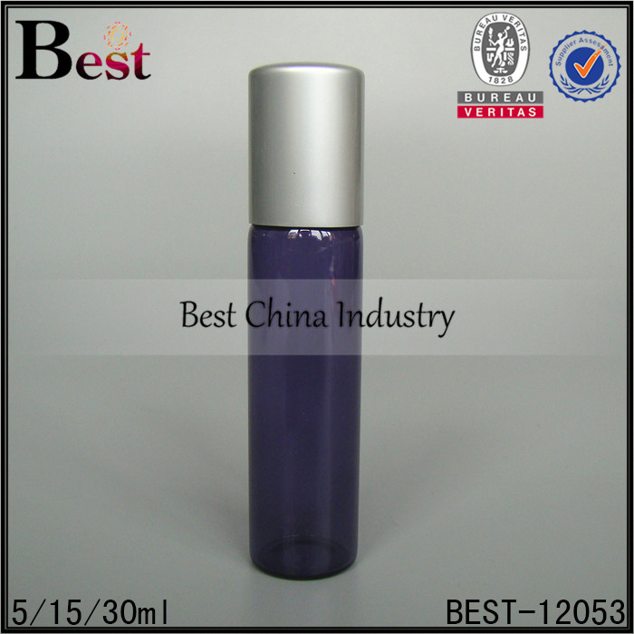 essential oil perfume 15ml different size small blue colored tube glass bottle with steel roller ball