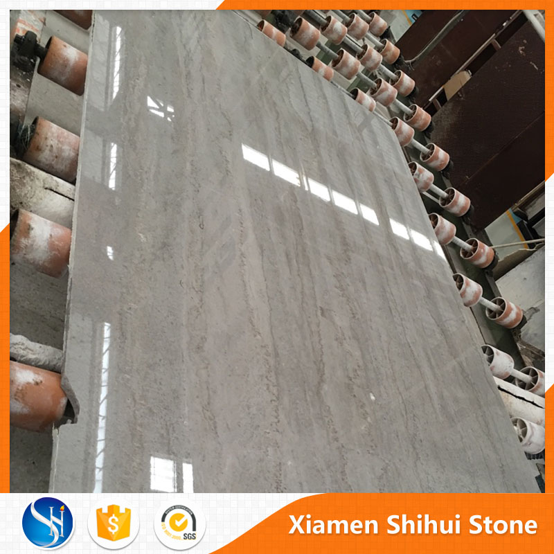 China supply Wooden silvery grey marble tile with white and black veins