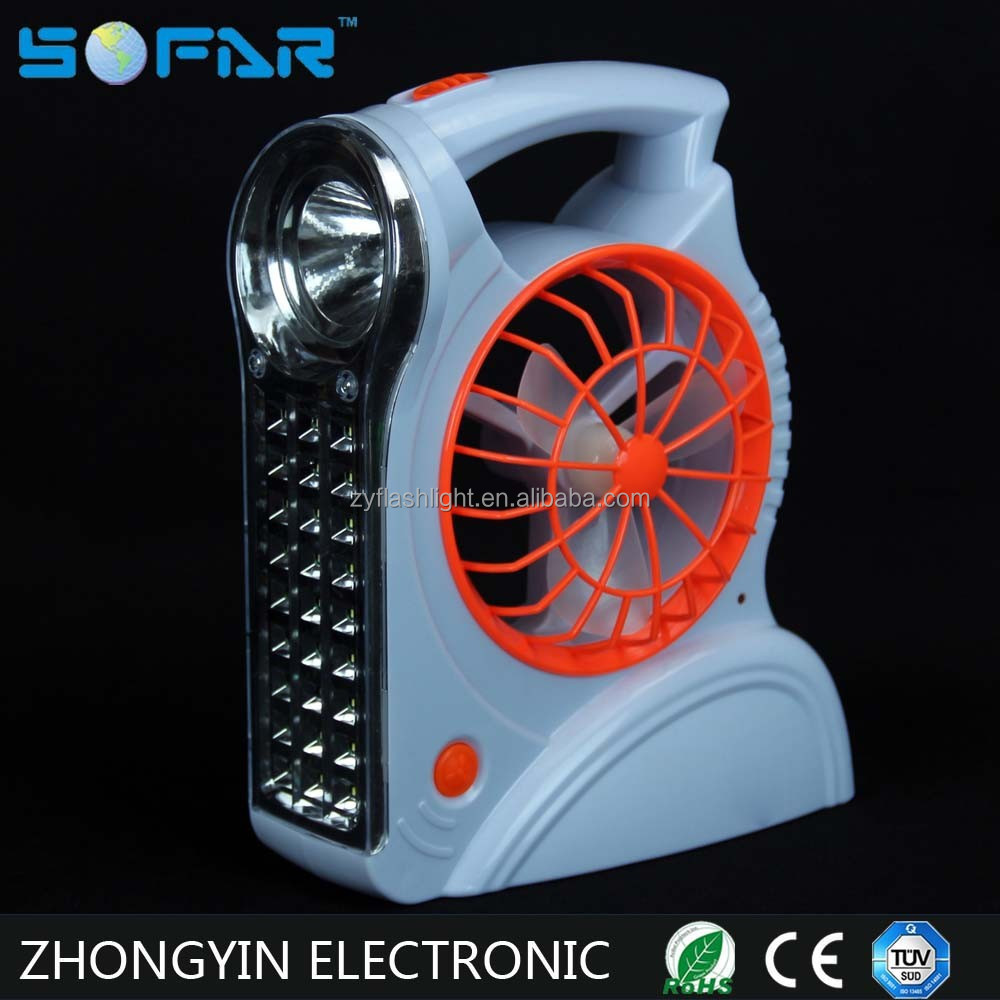 3*D Battery 10W Operated Rechargeable Light With Fan