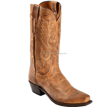 tan tasteful distressed Mad Dog goat skin leather western cowboy boots wholesale