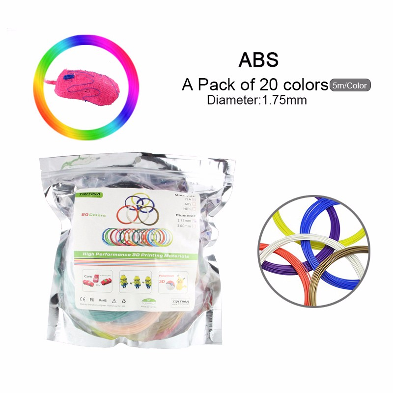 Tritina ABS 3D Filament Refills Pack of 20 Colors INCLUDES 5 Luminous! *5 Meters 1.75mm Around For 3D Printing Pen Printer