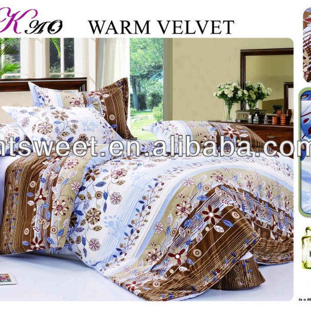 Luxury full sheet set Sweet fleece microfiber bedding set 100% polyester fleece duvet cover set