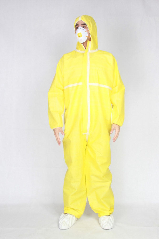 orange color disposable PE coverall for cosmetic field