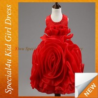 Beautiful Baby Girls 2015 Hot Sell Satin Wedding Princess Red Flower Girl Dresses kids gowns and dresses SPSY-391
