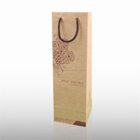 wholesale kraft Paper Bag nylon handle with red wine packaging