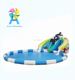 Giant water park inflatable slide with round swimming pool for outdoor commercial rental