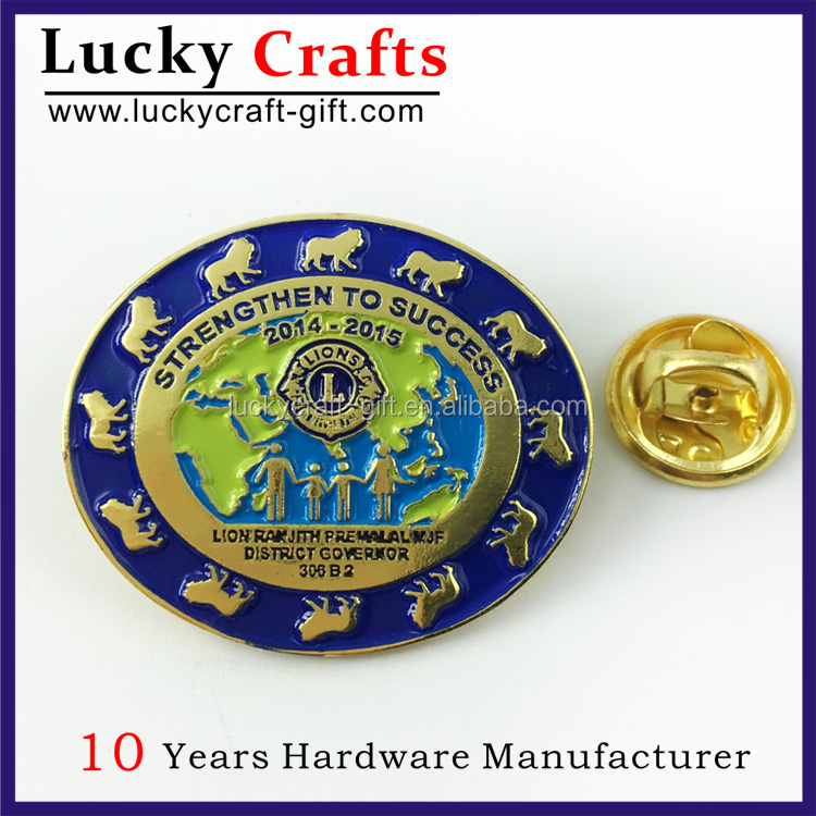 Wholesale custom metal logo soft enamel lions club souvenir pins