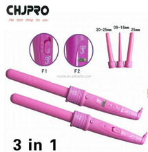 3P Curler Tourmaline Ceramic Salon Professional Hair Curling Iron
