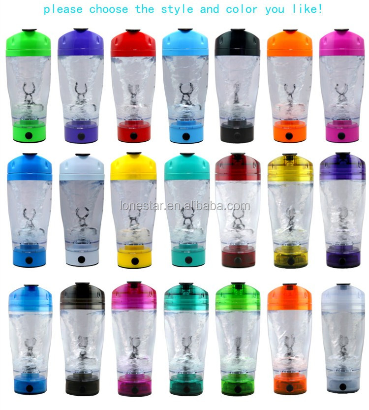 Custom logo 450ML Plastic Whey Protein electric vortex shaker bottle with USB charger