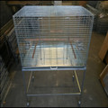 budget double small parrot cage on trolley with wheels.