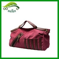 Weekend travel vintage leather canvas duffel bag