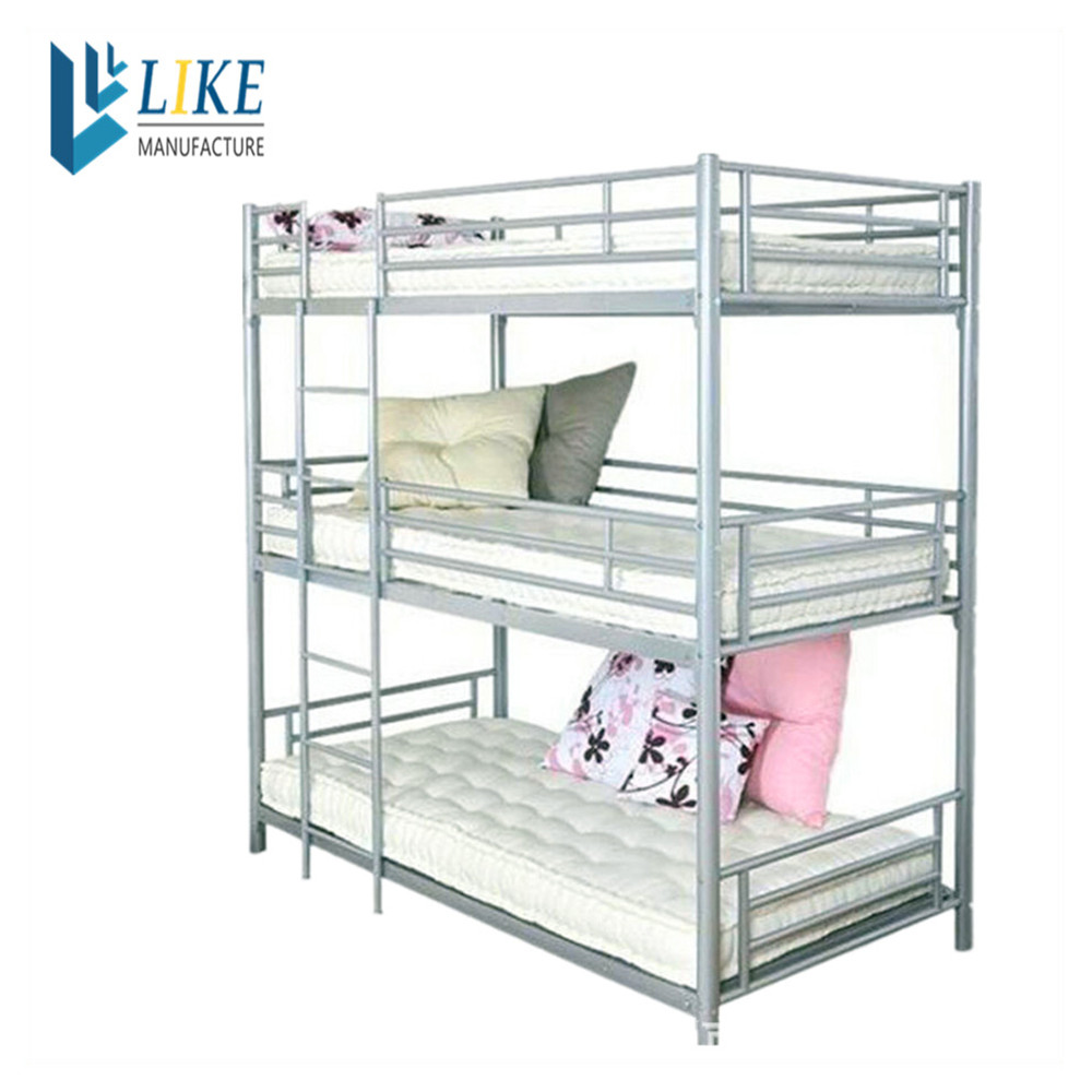 Wholesale bedroom furniture adult metal 3 person bunk bed for 3 6 bed