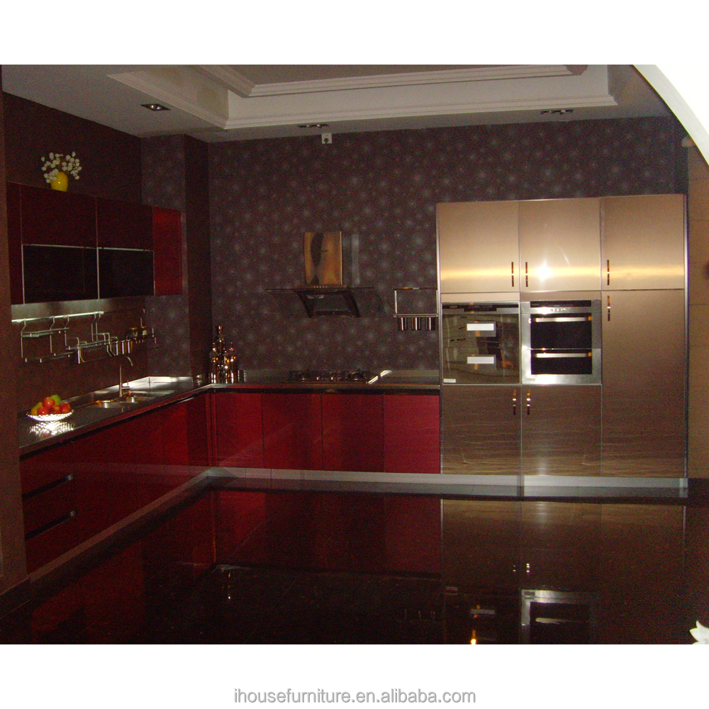 Noble Gold Lacquer Stainless Steel Kitchen Cabinet Cupboard/Stainless Steel Kitchen Door