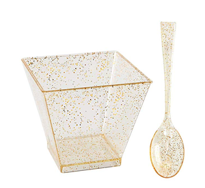 200 Pieces PLastic Dessert Cups with Mini Spoons Gold Glitter with FDA