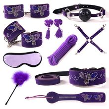 Top fashion sex games purple 10 pcs sex bondage leather set