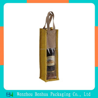 Custom cheap wine jute bag with window