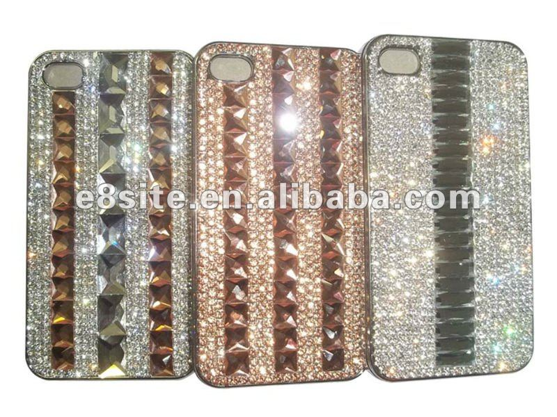 Luxury Crystal Stone Diamond Metallic Hard Cover Case For iPhone 4S 4G