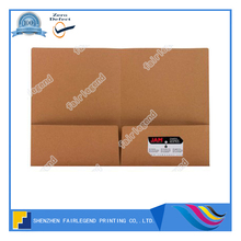 High quality office kraft paper print Presentation Folder with business card pocket