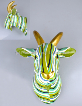 Resin Colorful Decorative Large Goat Animal Head Sculpture