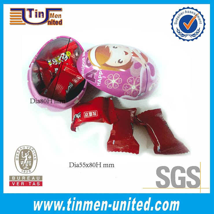2017 hot selling Easter tin can/Egg shape chocolatetin box/Christmas candy metal tin