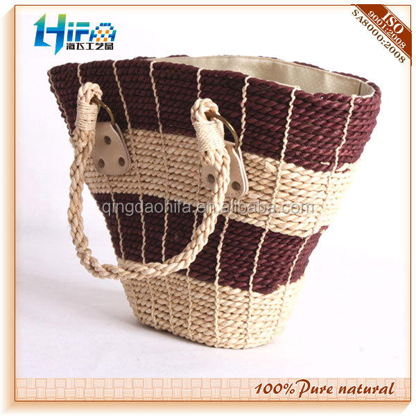 Top Quality Woman Chic Plait Handle Vintage Straw Basket Bag