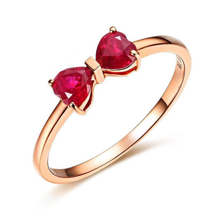 Fine jewelry 100% 925 Sterling Silver bow ruby ring Free shipping