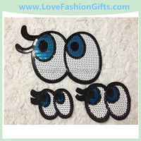 Eyes Sequin Embroidery Applique Beaded Embroidery Appliques