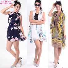 Taiwan Summer Colorful Changeable Wear Chiffon Tops Shirts Magic Silk Scarf Anti UV Sand Beach Shawl