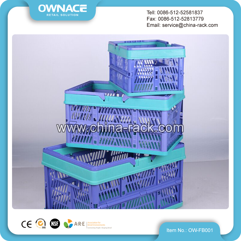 Small Commercial Picnic Collapsible Foldable Plastic Shopping Basket