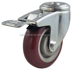 100mm Swivel PU Industrial Casters with brake and lock