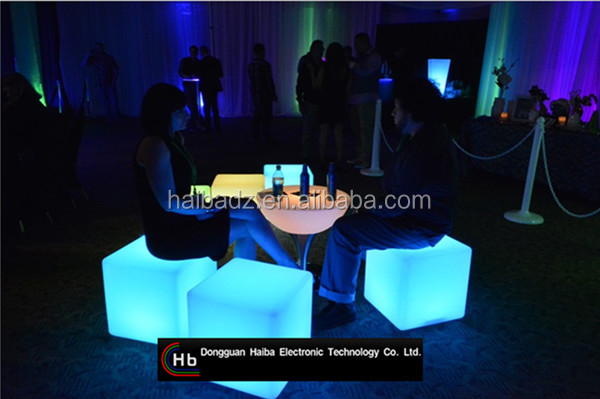 china supplier RGB Color Changing LED Cube Chairs Light Cube Seat led table and chair