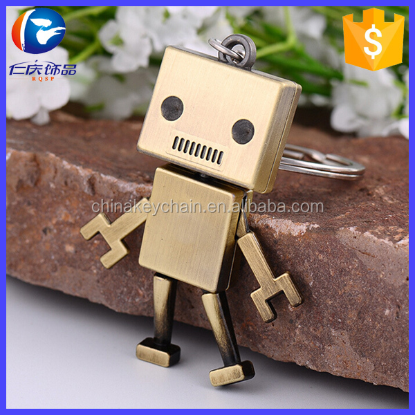 New Arrival Metal 3D Robot Key Chain Movable Keychain