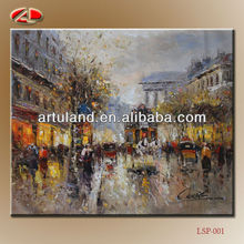 Palette knife paris street scene oil painting