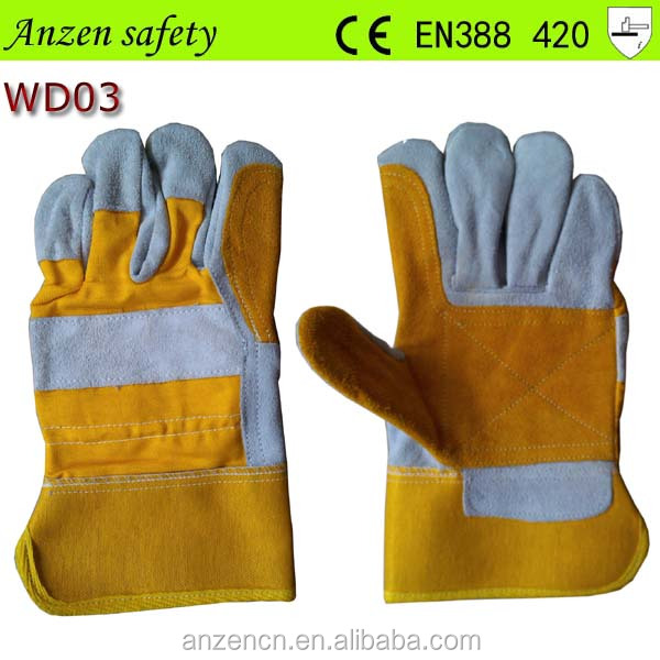 high quality yellow deerskin leather work gloves