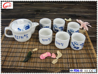 Chinese suppliers ceramic blue and white porcelain tableware tea set