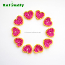 Pinky Pink & Dirty Yellow Crochet Heart Appliques for Valentines Day Heart Love Motif
