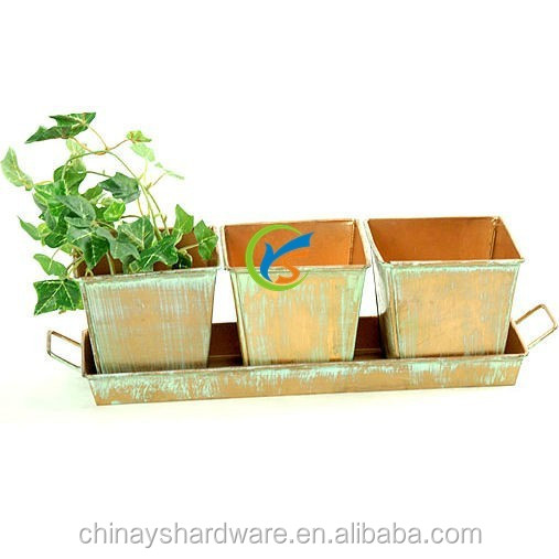 Set of 3 pieces galvanized metal window planter boxes