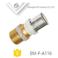 EM-F-A116 Straight plug connection nickel plated male thread brass union pipe fitting
