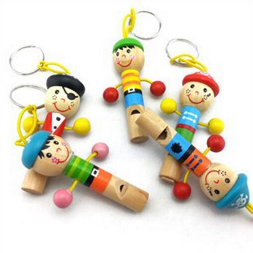 New Kids Toy Wood Toys Cartoon Pirates Hanging Musical Instrument Whistle Music Education Preschool Training