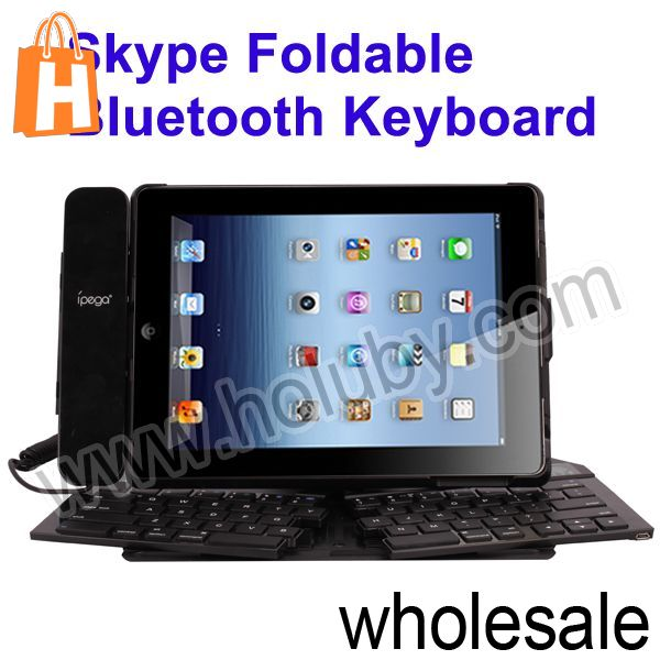 China New Product for iPad 2 Bluetooth Keyboard,Skype Foldable Keyboard for iPad 3 with Handset