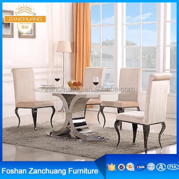 Luxury stainless steel design modern dinning sets table with chair