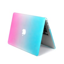 Rainbow matte rubber coated hard pc shell cover laptop case for Macbook Pro 13 inch, rose-orange color