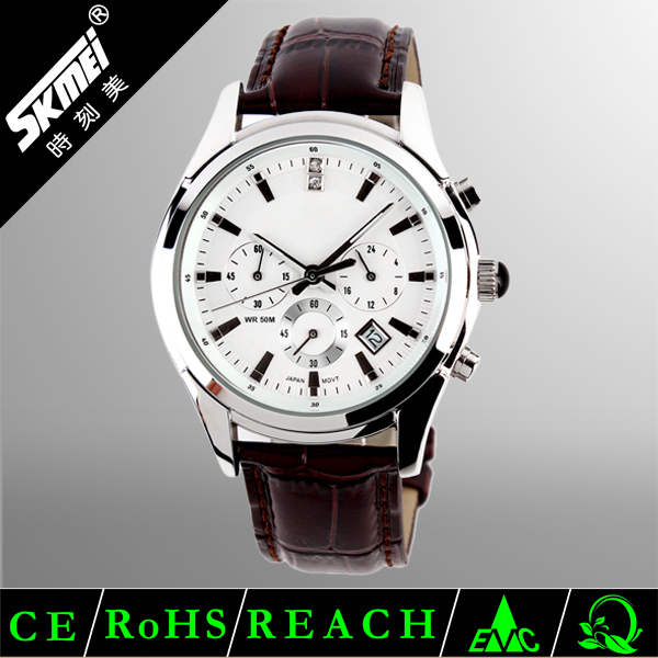 Top selling Skmei genuine leather watch bracelet men
