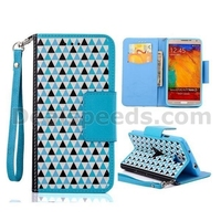 Grid Pattern Wallet Style Magnetic Flip Stand TPU+ PU Leather Case for Samsung Galaxy Note 3 N9000