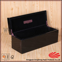 Hinged glossy embossed wood box for wine glasses