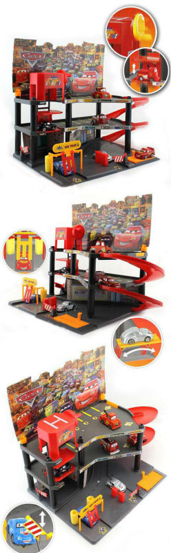 ht-5481299 parking lot play set 3-deck cartoon parking lot toys set with 6 lovely cars